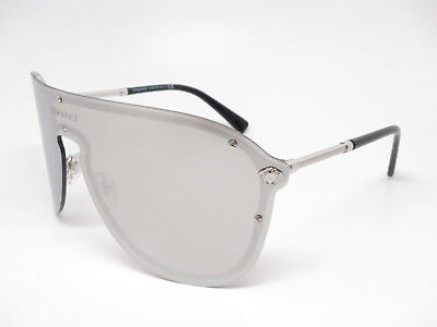 09feb7c696 New Versace VE 2180 1000 6G Silver w Light Grey Mirror Silver 10006G  Sunglasses