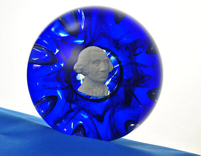 Joe St. Clair Magnum Paperweight George Washington Sulphide