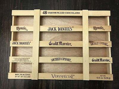 "BOX ONLY Very Special 48 Liquor Filled Chocolates Wood Crate 14"" x 9.5"" x 1.5"""