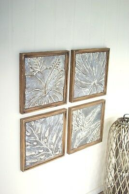 "Set Of 4 Framed Tropical Pressed Metal Tiles 18.75"" Squared Textural Wall Decor"