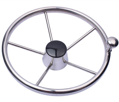 "11"" Boat Stainless Steel 5 Spoke Steering Wheel 280mm With Knob for Marine Yacht"