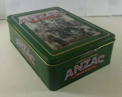 UNIBIC ANZAC Biscuits, 'Balikpapan 1945', red on green, 500g. Biscuit Tin
