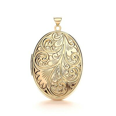 9k Solid Gold Oval Picture Locket Necklace 2 Photo Round Lockets for Women Gifts