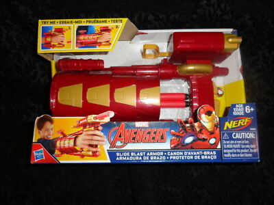 NEW The Avengers Nerf Iron Man Slide Blast Armour Marvel Comics Civil War Dart