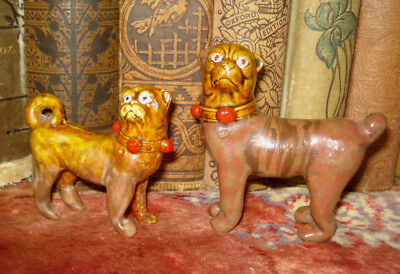 Vintage Pair 2 Hand Made Figurines Bulldogs Mini 2.5 - 3""