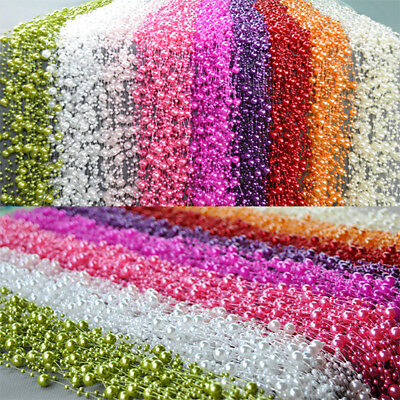 60M Colorful Faux Pearl Garland String Acrylic Beads Party Wedding Table Decor
