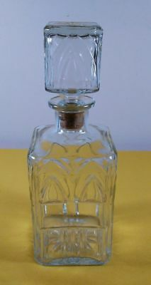 """Vintage Glass Decanter Bottle With Cork Stopper ~ 9.5"""" Tall"""