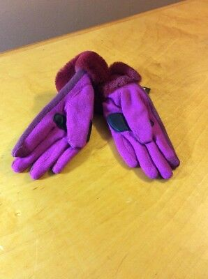 NWT Echo touch red   Pink  gloves with Rabbit fur  size Medium #38k