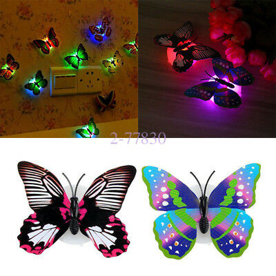 3D Removable LED Glowing Butterfly Wall Decal Sticker Kids Room Art Decoration
