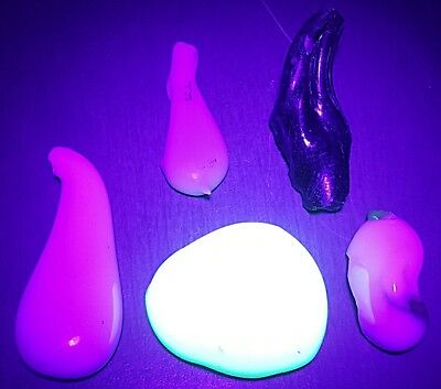 ☆GLOWS☆ LOT OF 5 DRIPS Akro Agate Marble Scrap Glass Gem Art Gift RARE 3.5 OZ