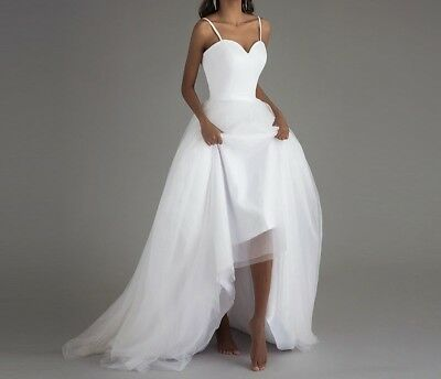 Spaghetti Strap Wedding Dress Simple Long Tulle Bridal Gown 2/4/6/8/10 US seller