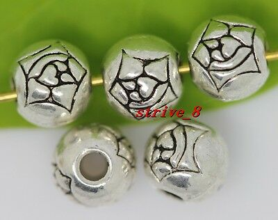 Wholesale 100/500pcs Tibetan Silver flower ball Spacer Beads Charms Jewelry 6mm