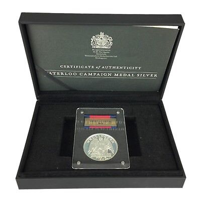 -1815 Waterloo Campaign Medal- 925 Sterling Silver Worcestershire Service -Boxed