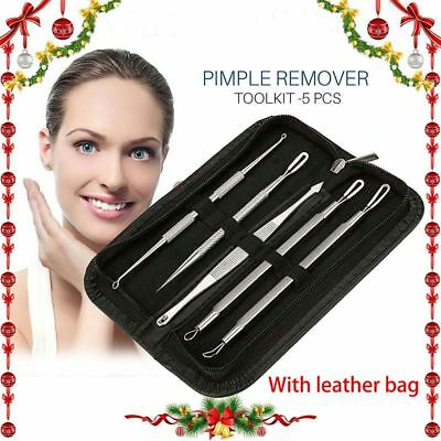 5 Pcs Blackhead Whitehead Pimple Acne Blemish Extractor Remover Tool Set Kit