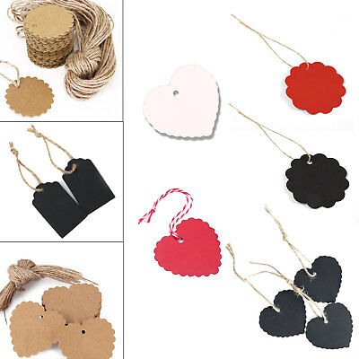 100Pcs Kraft Paper Gift Tags Scallop Label Luggage Wedding Blank + Strings