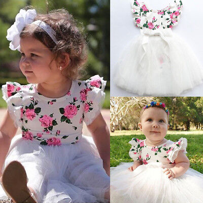 AU Newborn Kids Baby Girl Floral Party Dress Romper+Tutu Skirts Outfits Set 0-3T
