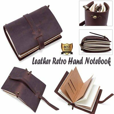 Leather Retro A4 Book Handmade Diaries Journal Cover Notepad Gift Binder Binding