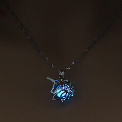Women's Necklace Glowing In the Dark Unicorn Head Pendant Necklace Fashion Gifts