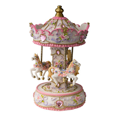 New Pink Carousel Resin Montmatre 9 Inch 25X13.5X13.5Cm Baby Gift
