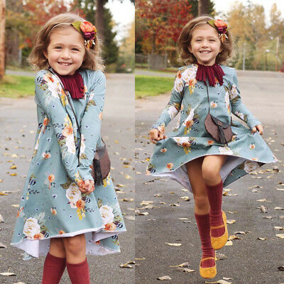 AU Stock Kids Baby Girls Child Toddler Flower Casual Dress Party Dresses Clothes