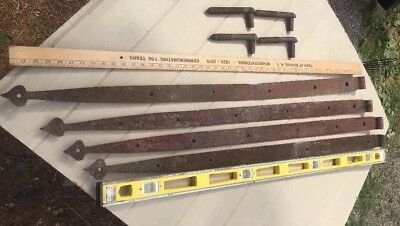 "Lot 4 VTG 48"" Forged Iron Primitive Farm Barn Door Gate Spear Strap Hinge Pintle"