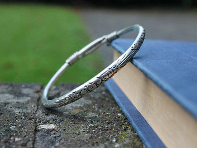 Ethnic miao silver bangle Unique handcrafted boho gypsy bracelet Gift for her
