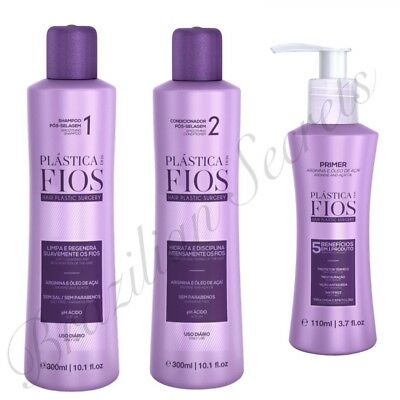 Cadiveu Plastica Dos Fios Sulphate Free Shampoo & Cond & Leave In Blow Dry Care