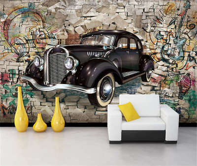 Concise Rose And Car 3D Full Wall Mural Photo Wallpaper Printing Home Kids Decor