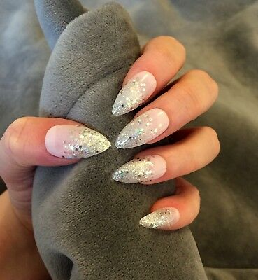 FALSE NAILS - Silver Glitter Ombre Tips - Stick On - The Holy Nail