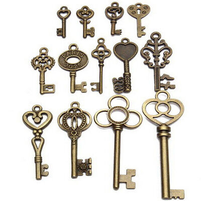 Set of 13 Antique Vintage Old Look Bronze Skeleton Keys Fancy Heart*Bow Pendant