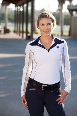 (X-Large, White) - Romfh Ladies Competitor LS Show Shirt. Free Shipping