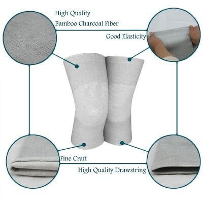 (Large) - Bamboo Charcoal Knee Support Elastic Compression Knee Sleeve Sports