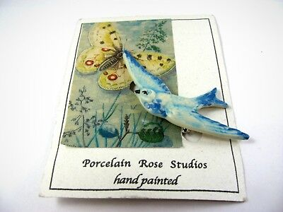 Vintage Collectible Pin: Blue Bird Hand Painted by Porcelain Rose Studios