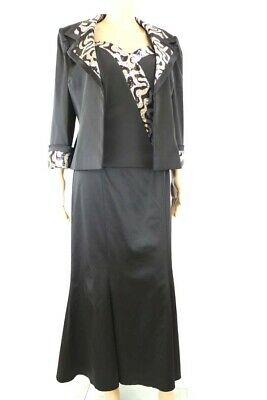 tailleur donna LUCIEN MOSCO 50 nero viscosa e seta (giacca top gonna) AM393- bc4600ce778