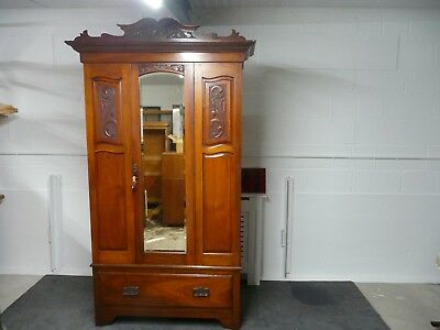 Arts & Crafts Walnut Wardrobe Late Victorian