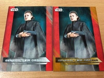 Star Wars The Last Jedi General Leia Organa 20/25 Gold Parallel & 12/99 Silver
