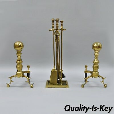 The Harvin Co Brass Pair Branch Foot Cannonball Andirons & Fireplace Tool Set