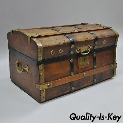 Antique Dome Top Wooden & Brass Pirates Treasure Chest Blanket Trunk Distressed