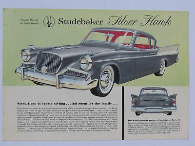 1958 Studebaker Silver Hawk Color Specification Sheet Brochure
