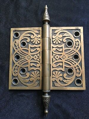 """Antique Large Eastlake Collectible  Heavy Solid Bronze Hinge 5"""" By 6"""""""