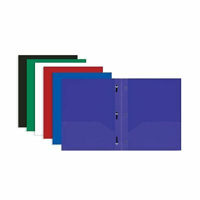 3 Pk BAZIC Solid Color 2-pockets Poly Portfolio with 3 Prongs