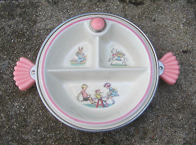 Vintage Majestic Pink Baby/Child's Divided Warming Dish/Bowl w/ handles,USA Made