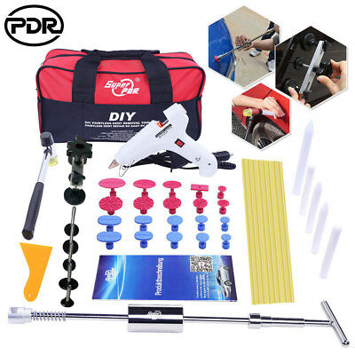 PDR Tool Paintless Dent Repair Puller Lifter Slide Hammer T Bar Glue Removal Kit