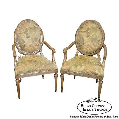 Jeffco French Louis XVI Style Pair of Fauteuils Arm Chairs (B)