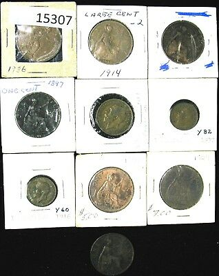 Lot of 10 Great Britain Farthing, 1/2 Penny and Penny 1897-1945