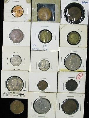 Lot of 15 Great Britain Farthing, 1/2, 1 Penny, 3, 6, Pence, 2 Shilling 1941-197