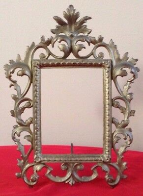VTG Antique Ornate Metal Picture Frame No Glass Scrolling Leaves Iron