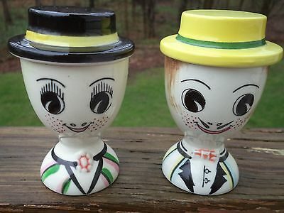 Pair Vintage Egg Cup  Lego Ceramic Japan 59 His Her Man Woman 50's