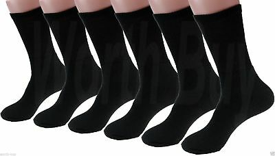 New 6 Pairs Mens Black Sports Athletic Crew Quarter Socks Cotton Working Hiking