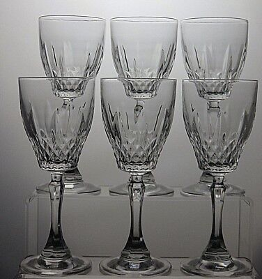 Lovely Large Cut Glass Crystal Wine Glasses Set Of 6